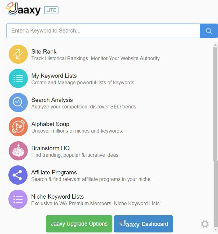 Jaaxy main Wealthy Affiliate menu