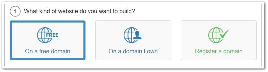 Use a free domain, a domain of your own or create a new one