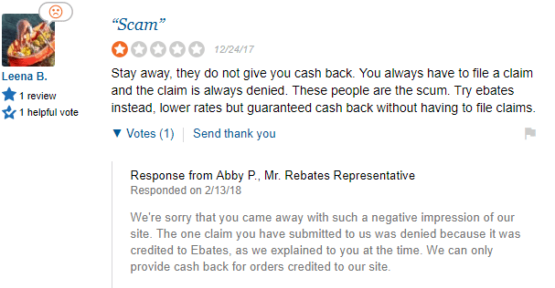 Bad review at Sitejabber for Mr Rebates