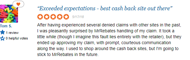 Good review at Sitejabber for Mr Rebates