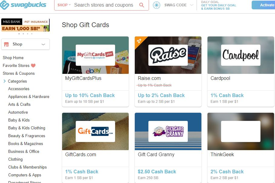 Swagbucks - Purchase gift cards and redeem points
