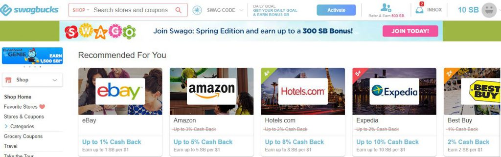 Swagbucks - Shop and get cash back