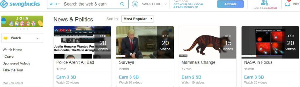 Swagbucks - Watch videos and redeem points