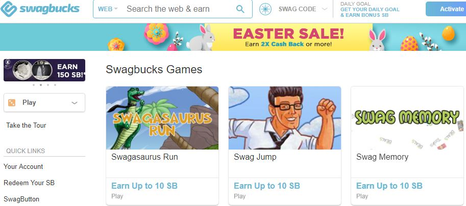 Swagbucks - Play games and redeem points