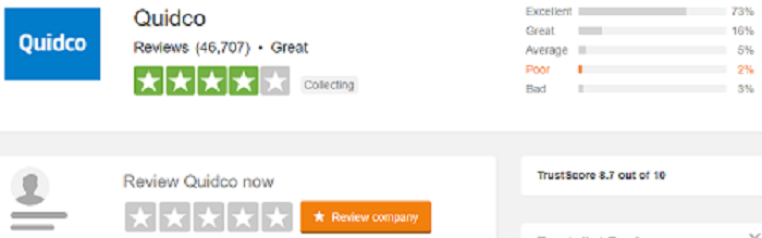 Quidco reviews at trustpilot