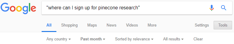 Google Search For Pinecone Research Signup