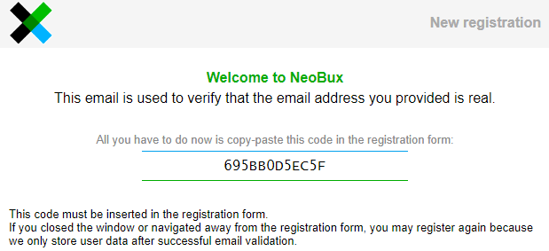 NeoBux Activation Email Code