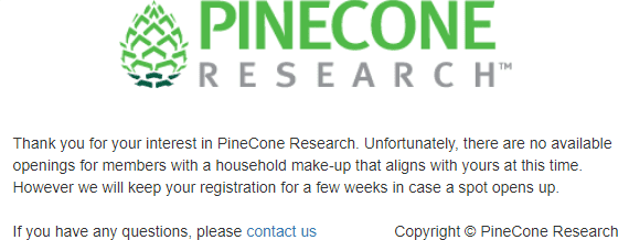 Pinecone Research No Members Accepted