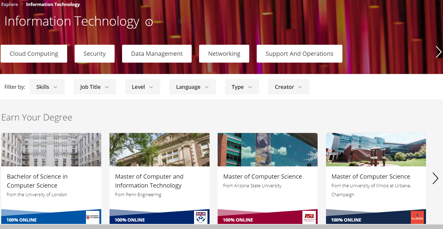 Show the Coursera IT courses