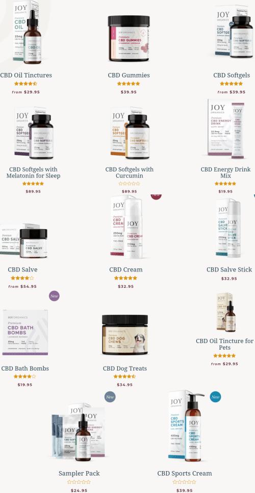 Joy Organics Products - full range