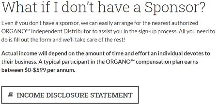 Organo Gold Income disclosure #