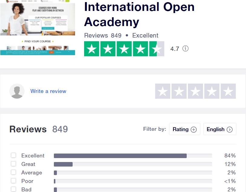 International open academy review - trust pilot
