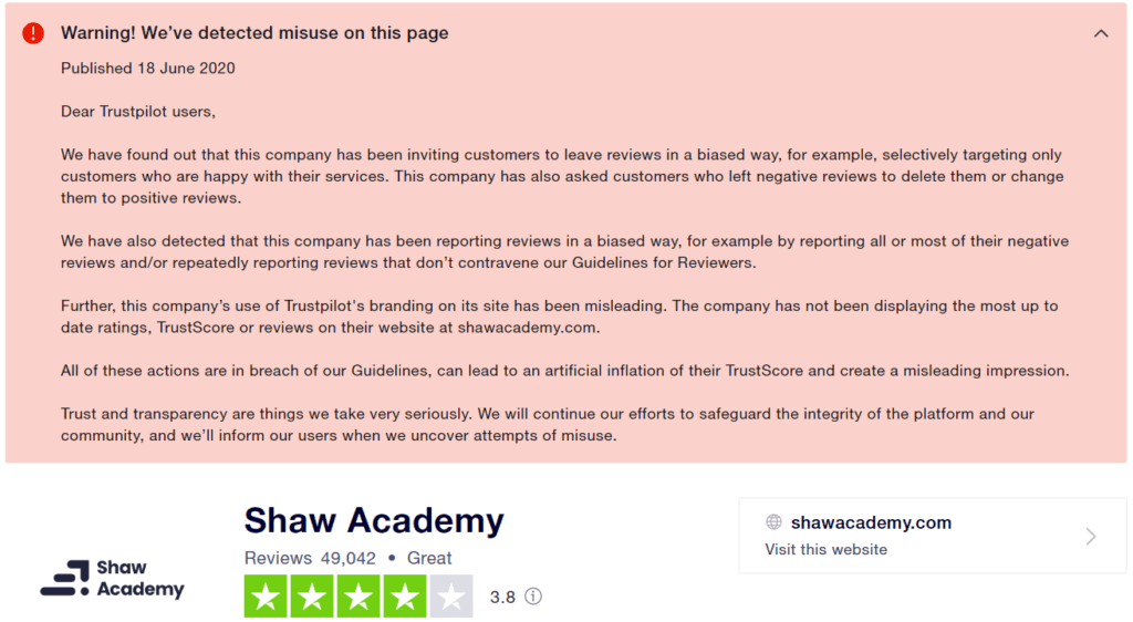 What is Shaw Academy About - Trustpilot issue