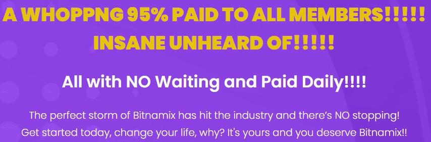 bitnamix review - 95 per cent paid out