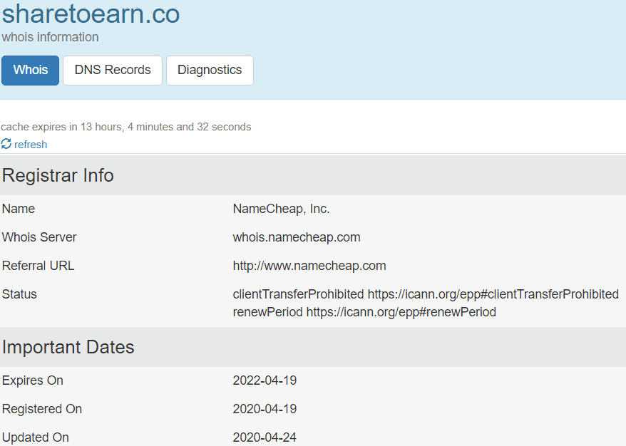 ShareToEarn Review - domain creation date