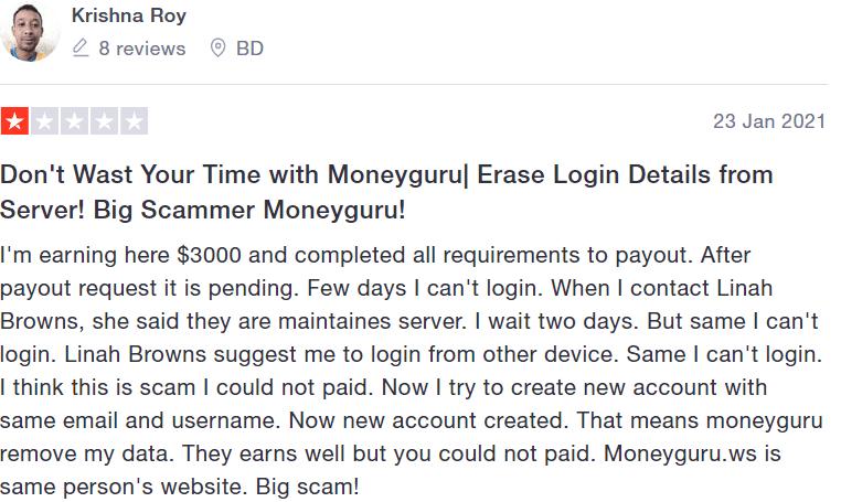 is moneyguro a scam - Trustpilot review #1