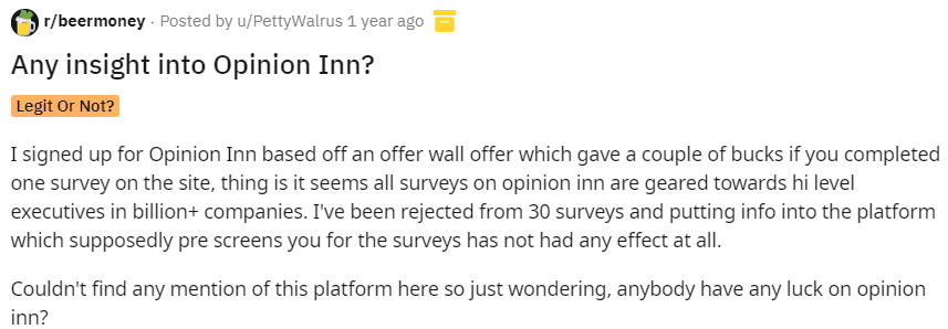 Opinion Inn Review - Reddit review