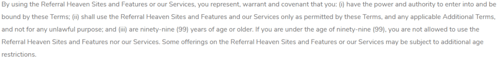 Referral heaven Review - Terms