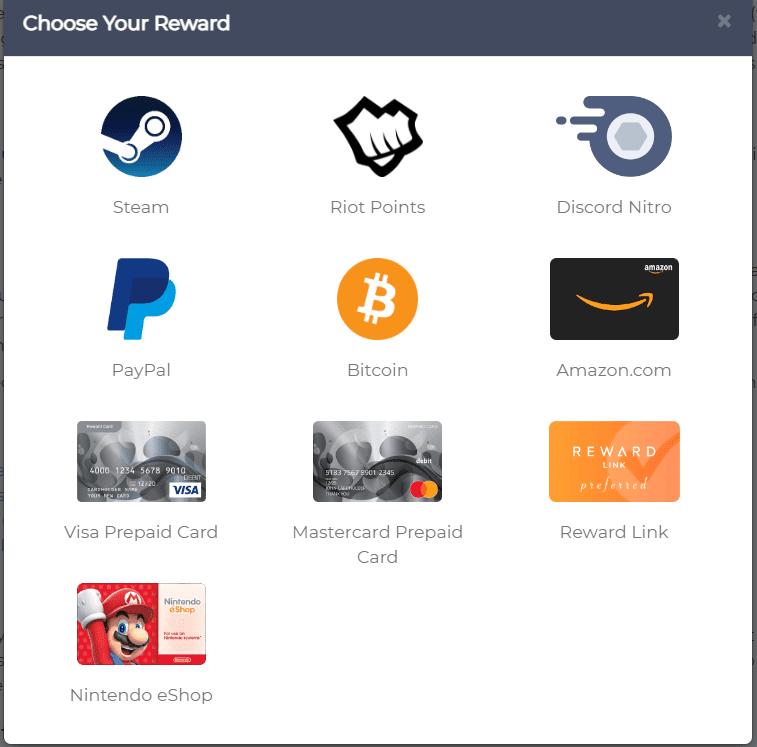 eward XP review - Different cash out methods