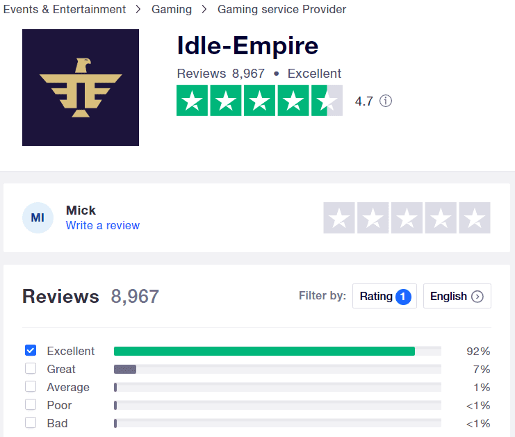 What is Idle Empire - Trustpilot rating