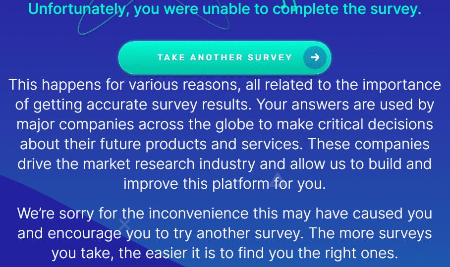 surveytime.io review - Didn't qualify