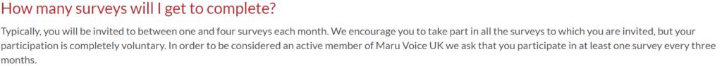 Maru Voice UK Review - number of surveys sent out