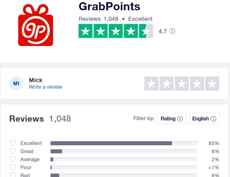 What is GrabPoints.com - Trustpilot review stats