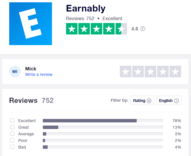Earnably Review - TrustPilot summary